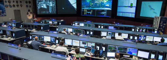 The Space Station Flight Control Room in Houston, Texas, in 2017